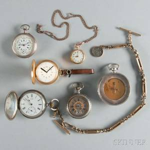 Five Watches and a Pocket ThermometerCompass