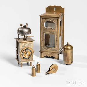 Miniature Japanese Kake Dokei or Lantern Clock and Wall Bracket