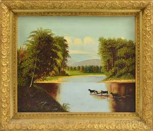 American School 20th Century Primitive Landscape with Cows in a Quiet River
