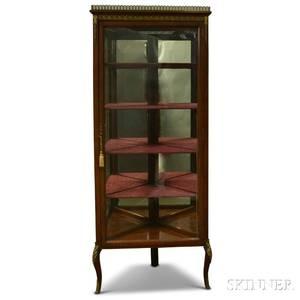 Louis XVIstyle Giltmetalmounted Corner Mirrored Vitrine