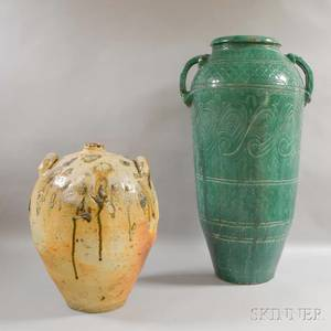 Two Large Glazed Pottery Garden Urns