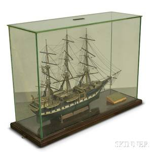 Cased Carved and Painted Ship Model of the Charles W Morgan