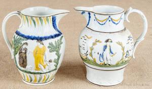 Two Prattware cream pitchers 19th c