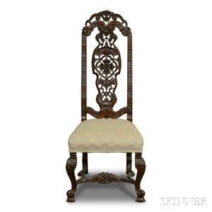 Charles IIstyle Carved Walnut Side Chair