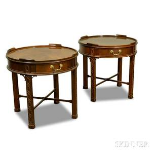 Pair of Baker Chinese Chippendalestyle Carved Mahogany Tables