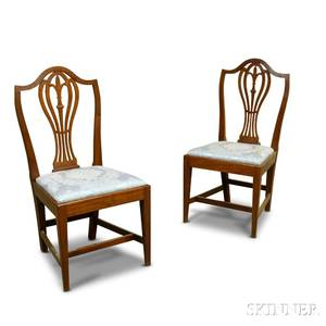 Pair of Federal Cherry Shieldback Side Chairs