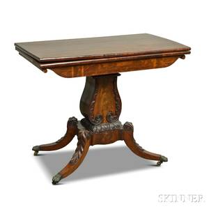 Classical Carved Mahogany Lyrebase Card Table