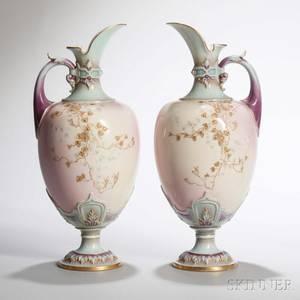 Pair of Worcester Porcelain Prismatic Enamels Ewers