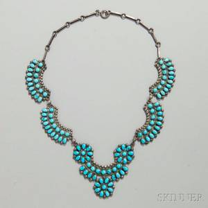 Zuni Petitpoint Silver and Turquoise Necklace