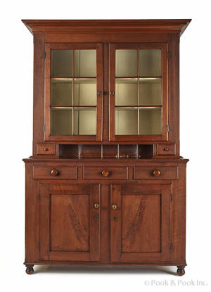 Pennsylvania walnut two part Dutch cupboard ca 1820