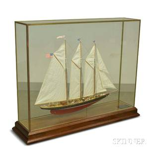 Cased Carved and Painted Ship Model of the Atlantic