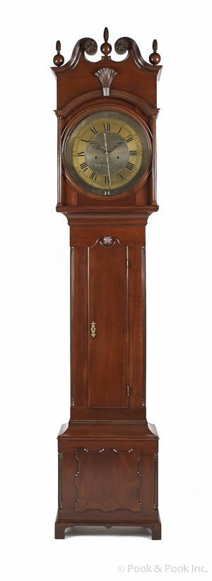 Chester County Pennsylvania Chippendale cherry tall case clock ca 1770