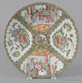 Chinese export porcelain rose medallion charger 19th c
