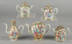 Five Chinese export porcelain rose medallion teapots 19th c
