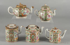 Five Chinese export porcelain famille rose teapots 19th c