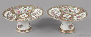 Pair of Chinese export porcelain rose medallion compotes 19th c
