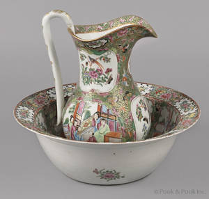 Chinese export porcelain rose medallion pitcher and basin 19th c