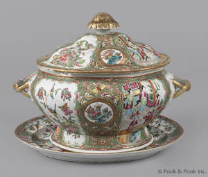 Chinese export porcelain rose medallion tureen and undertray 19th c