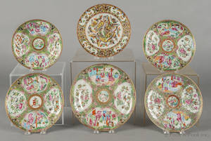 Five Chinese export porcelain rose medallion plates 19th c