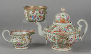 Chinese export porcelain rose medallion teapot creamer and waste bowl 19th c