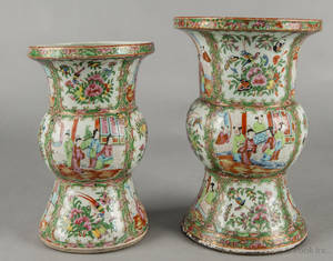 Two Chinese export porcelain rose medallion ku form vases 19th c