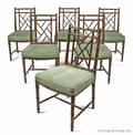 Set of six faux bamboo dining chairs