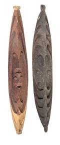 A Pair of Carved and Painted Wood Hook Figures