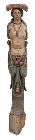 An Italian Carved and Polychromed Wood Corbel Figure