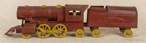 Painted pressed steel floor train with tender