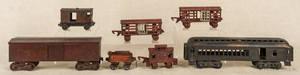 Seven cast iron train cars