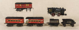 American Flyer cast iron train engine and tender