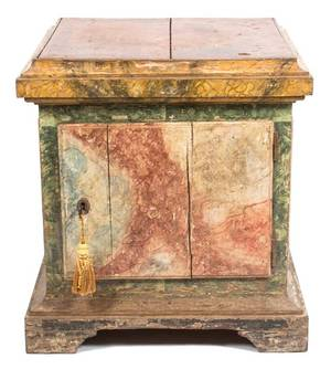 An Italian Faux Marble Painted Wood Pedestal Cabinet
