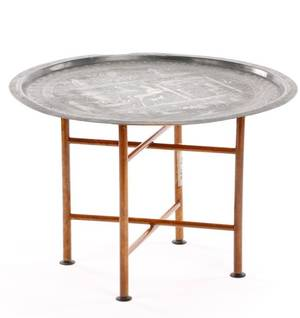 Islamic Silver Plated Copper Tray on Stand