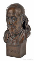 Carved pine bust of Benjamin Franklin late 19th c