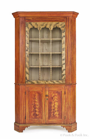 York County Pennsylvania painted corner cupboard mid 19th c
