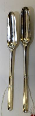A Group of Two Georgian Silver Marrow Scoops