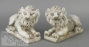 Pair of carved limestone recumbent lions