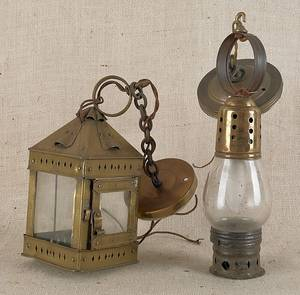 Two brass lanterns