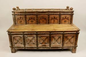Gothic Revival Style Carved Wood Settee