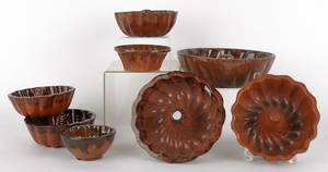 Eight redware food molds