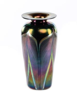 Very Fine Tall Iridescent Pulled Feather Vase