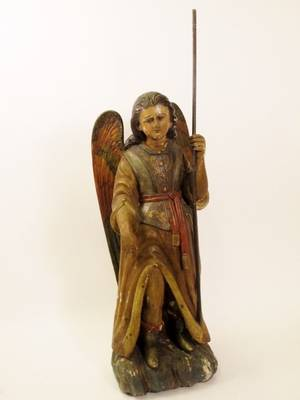 Spanish Colonial Carved Wood Angel