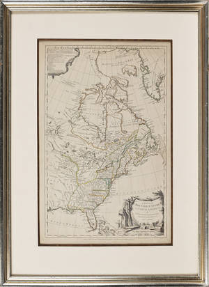 Samuel Dunn engraved map of the British Empire in North America