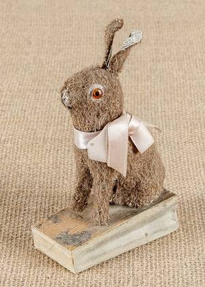Mohair rabbit squeak toy late 19th c