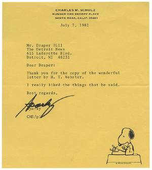 Schulz Charles Typed letter signed Sparky to