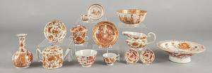 Fourteen pieces of Chinese export orange decorated porcelain tablewares 19th c