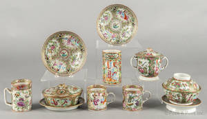 Chinese export porcelain rose medallion tablewares 19th c