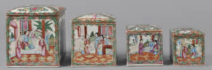Four graduated Chinese export porcelain rose medallion lidded canisters 19th c