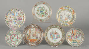 Seven Chinese export porcelain famille rose plates 19th c