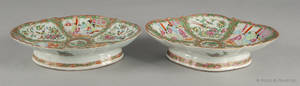 Two Chinese export porcelain rose medallion footed serving dishes 19th c